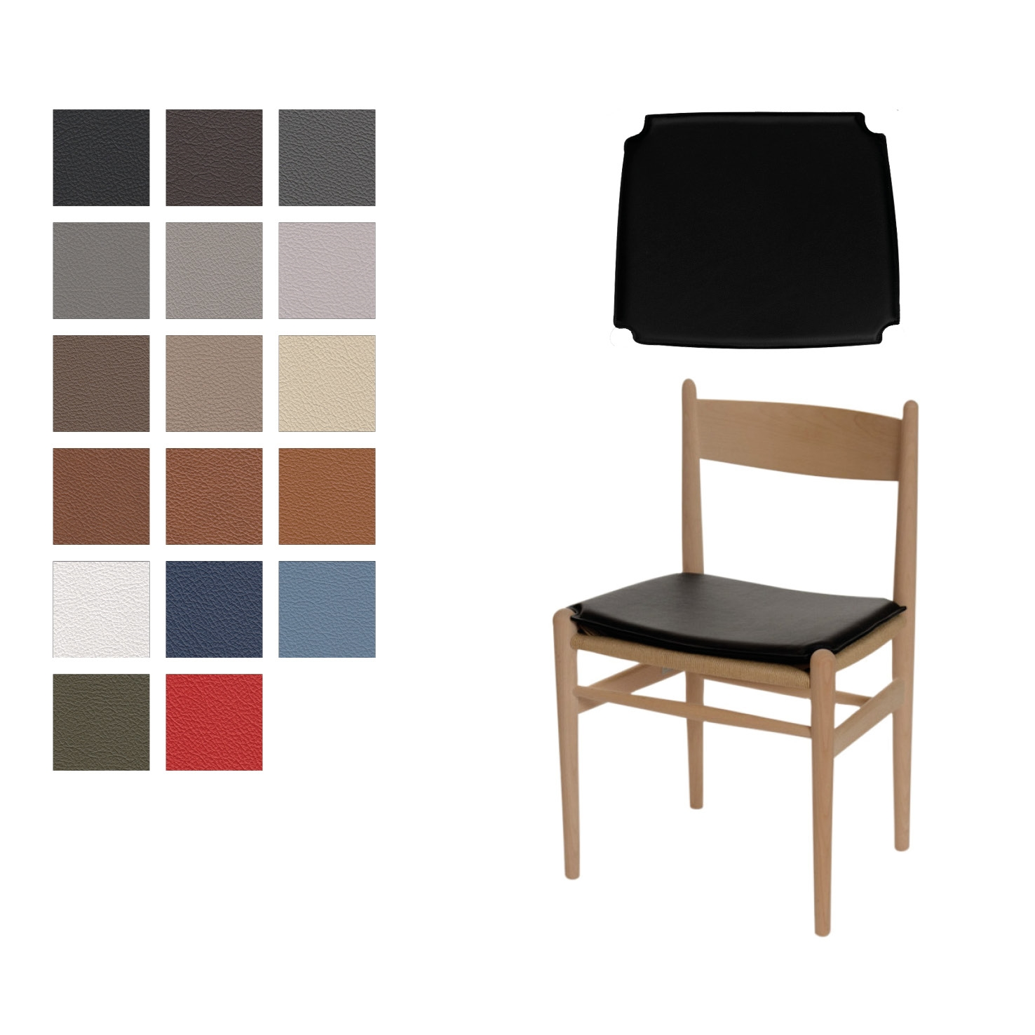 Hans J Wegner CH 36 Kissen (wendbare) in Basic Select Leder